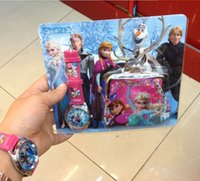 Wholesale Cheap China Wrist Digital Watches and Wallets Purse New Frozen Series Elsa Anna Wristwatch For Kids Women Ladies Christmas Birthday Gifts