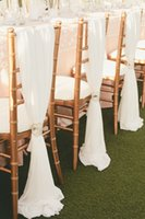 banquet chairs furniture - Simple Elegant Chair Sashes White Chiffon Wedding Banquet Romantic Bridal Party Chair Back Cover Decoration Wedding Favors Pieces