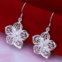 Nuevo LLEGA mejor regalo de Navidad mujeres de la boda señoras 925 de plata esterlina moda linda flor pendiente joyas E035