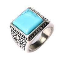 Cheap 2016 Alloy Silver Plated Vintage Style Opal Stone Carving Pattern Wedding Rings For Men Women Cluster Rings Jewelry Wholesale China