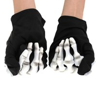 awesome halloween costume - Good quality Awesome Solid Terrifying Skeleton Hands Halloween Dressing Up Costumes Gloves Nice Costume Full Finger Gloves order lt no track