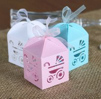 Cheap Baby Carriage Candy Boxes Hollow Out Favor Holders Children's Day Birthday Party Gift Box 2016 March New Style