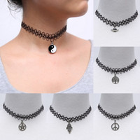 alloy diagram - Tattoo Choker Necklaces Vintage Stretch Gothic Punk Elastic boat anchor Eight Diagrams Pendant Fashion Jewelry for women men