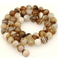 Wholesale Natural Smooth Round Botswana Agate beads Jewelry Making loose stone beads strand