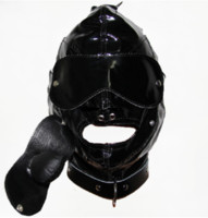 Unisex adult goggle - Leather Hoods Bdsm Bondage Mask Adult Head Restraints BDSM Bondage Removable Mouth Gag Goggles Slave Fetish Fantasy Adult Sex Mask Slave