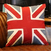 Wholesale American rustic style cauch pillow natural flax made the Union flag leisure back cushion types