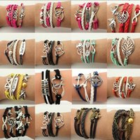 Wholesale 2015 New Fashion Leather Bracelet Strap Jewelry Double Infinite Multilayer Braided Bracelets Vintage Retro Wax Rope Bangles