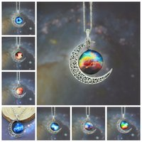 wholesale vintage jewelry - 12 colors Vintage moon necklace starry Moon Outer space Universe Gemstone necklaces pendants Chain jewelry Children Accessories bjd nerf