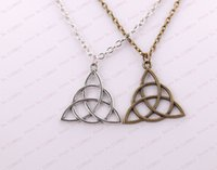 ancient lucky charms - New Fashion Vintage Pendant Necklace Ancient Silver Knot Charm Triquetra Trinity Gift Lucky Jewelry