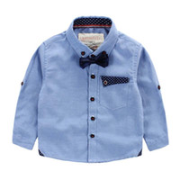 Wholesale 2016 Top Fashion Hot Sale Pink Export Brand Baby Boy Clothes Kids Clothing Boys Shirts Bow Gentle Childrens Fashion British Western Style