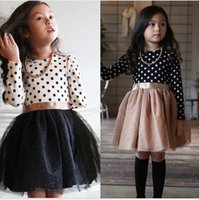 basic lace - 2016 European Girls Dresses Dots Print Glitter Tulle Solid Basic Cotton Student Dress Princess Children Cloth White Black K5909