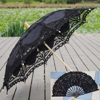 lace hand fan - 2015 Hand Made Embroidered Lace Bridal Parasol Umbrella Fans Set Bamboo Lace Hand Fans Flower Bridal parasolsSun Wedding Party Decoration