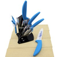 acrylic kitchenware - Ceramic Knife Sets Floral Print Kitchen Knives Stand Holder Acrylic Peeler Kitchenware Accessories Cooking Tools