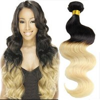 Cheap Cheap Brazilian Virgin Hair Ombre Blonde Hair Extensions Two Tone Ombre Brazilian Hair Weave Body Wave 1B 613 Hair Bundles Free Shipping