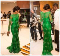 Cheap 2015 New Sheer lace Long sleeves evening dress with bateau emerald green prom dresses mermaid celebrity vestidos de fiesta evening gowns