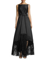 floor length satin dress - Square Neckline Evening Gowns High Low illusion Open Back Stain and Lace BLACK Formal Gowns Sleeveless Ball Gown Evening Party Dresses