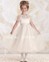 Cheap White ivory champagne short sleeve cheap flower girl dress made in China custom made girl pageant dresses baby party frocks