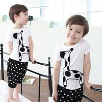 baby giraffe costume - Cartoon Baby Boy Giraffe Print Tops Shirt Dots Cropped Pants Sets Costume