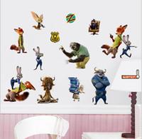 Wholesale Movie Zootopia Wall Stickers CM Inch Animal Zootopia PVC Wall Decals Wall Stickers Home Décor Judy Hopps Rabbit Nick Wilde Fox
