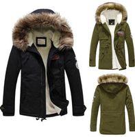 fur collar coat men - 2015 Mens Warm Fur Collar Hooded Parka Winter Thick Down Trench Coat Jacket Hooded Parka Overcoat