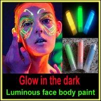neon paint - Glow in the dark black light body paint face body color luminous fluorescent neon blue makeup maquiagem metallic flash tattoo