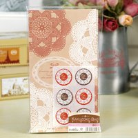 merchandise - 24 bags of Lace Flower Flat Bottom Paper Merchandise Bags Lunch Bags with Seal Sticker