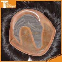 men hair toupee - 100 Top Quality Human Hair Toupee Super Thin Skin Slight Wave Stock Men Toupee