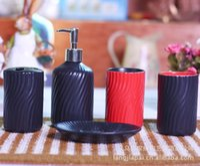 Wholesale minimalist Scandinavian style Five piece ceramic bathroom furniture ceramic supplies JH