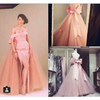 fall decorations - 2015 Real Photos Pink Arabic Evening Dresses Off the Shoulder Sheath Sexy Side Split Bowknot Decoration A line Tulle Skirt Prom Gowns