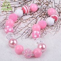 Wholesale Chain Silver New Arrival Fashion Selling Baby Mix Color Girls Chunky Necklace Bubblegum Solid Beads Pink Kids Necklaces for Girl Gift