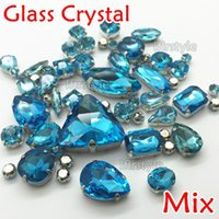 aquamarine bags - Mix sizes Mix shapes Aquamarine Color bag Sew On Glass crystal Rhinestones with claw setting mixed for diy design
