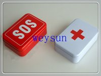 Wholesale Freeshipping SOS Tin Box Case Emegency Lid Container for Survival Gear Kits Set Self Help First Aid Metal Pill Box x66x30 mm