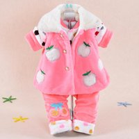 Cheap Wholesale-Baby Set 2015 Winter Girl Flannel Ultra Thick Cartoon Apple Coat+Pants (Three Piece Sets) Cotton-padded clothes
