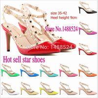 alto pink - New Euro style sexy splice rivets high heeles shoes women pumps party shoes sapatos de salto alto