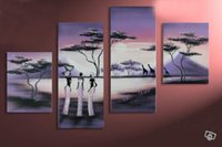 african tribes beauty - hand painted canvas wall art Purple African tribe beauty home decoration Landscape oil painting on canvas set frame