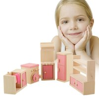 Wholesale Brand Baby Wooden Doll Bathroom Furniture Kitchen Dolls house Miniature For Kids Child Play Toy