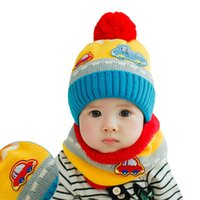 Wholesale Cute Baby Hat Unisex Girl Boy Knitted Winter Scarf Kids Cartoon Pattern Fleece Warm Cap Baby Scarves Neck Warmer Two Piece Set