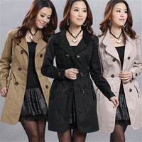 Wholesale Hot Sales High Quality New Women Slim Double Breasted Long Trench Coats Jacket Outwear Top Overcoat Cotton Blend Fashion DX88