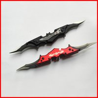 batman stainless steel blades - Black red mini Pocket Dark Knight Batman bat wing Double Blade folding blade Knife clip clasp knife knives