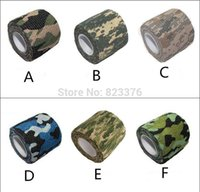 Wholesale Freeshipping Mix color self adhesive elastic bandage Army Camo Wrap Rifle Shooting Hunting Camouflage cohesive Tape m