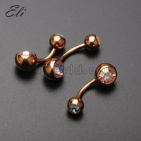 cz gems - Rose Gold Plated AB CZ Gem Belly Button Ring Navel Bar Piercing