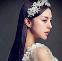 Wholesale Bridal Hair Accessories Handmade Flower With Pearl Headband Wedding Hair Jewelry Bridal Hair Piece For Weeding Party