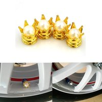 bicycle crown - GPS Set Pearl Crown Auto Car Valve Caps Motorcycle Wheel Valve Cover Car Bicycle Copper Tyre Tire Air Caps Gold Silver VC