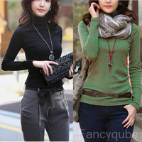 Wholesale Fashion Women New Jumper Solid Color Pullover Turtle Neck Long Sections Slim Bottoming Sweater Colors GWF