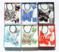 aqua jewelry box - Fashion Jewelry Set Colorful Flower Murano Lampwork Glass Butterfly Necklace Earrings Box Packing W14562