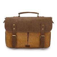 leather canvas laptop bag - Men messenger bags military style shoulder bag vintage canvas crazy horse leather cross body bags inches laptop satchel bags