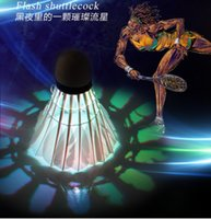 Wholesale 2015 New Colorful LED Badminton Feather Shuttlecock Shuttlecoc Outdoor Sports Dark Night sets