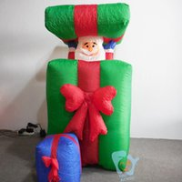 inflatable christmas - 1 m Inflatable Merry Chrismas Gift Box With Santa Claus Movable Up and Down For Home Outdoor Christmas Decorations