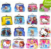 bag button - 2015 Girls D Cartoon Frozen peppa Sofia Princess Coin Purse with iron button shell bag wallet Purses Minions children Gifts