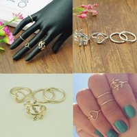 acrylic knuckle ring - 2015 Real Casamento New set Women Gold Silver Cute Urban Crystal Plain Above Knuckle Ring Band Midi Leaf Heart Rings